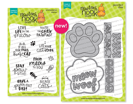 Cat-itude Stamp Set with paw Print Shaker Die